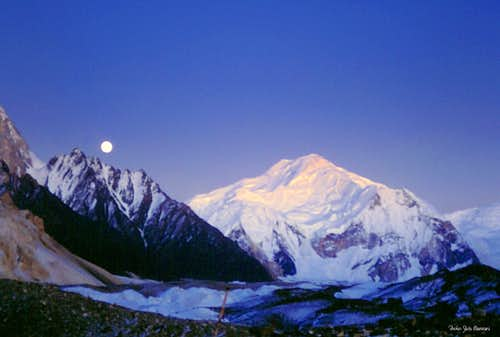 Moon is rising on Baltoro Kangri