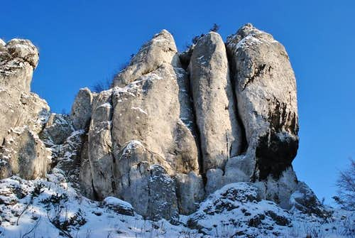 Polish climbing crag in winter
