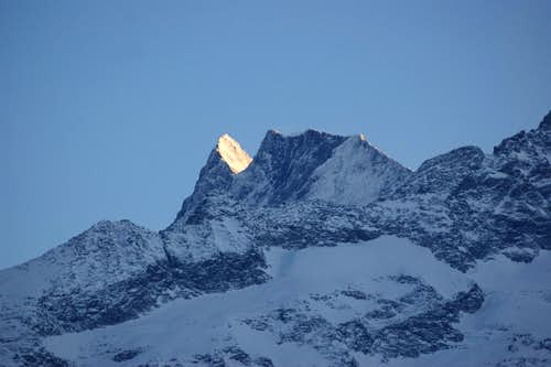 Finsteraarhorn at sunset