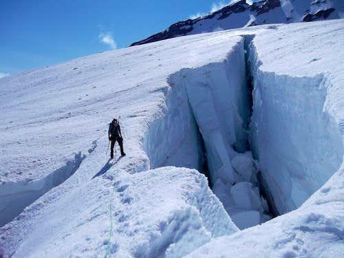 Large crevasse just before the Ridge