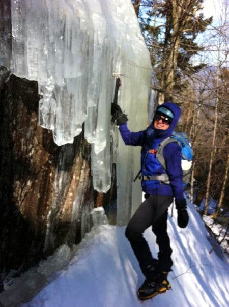 Moat Mt Bushwhack to fun ice slabs & mixed climbing, 2/13/12