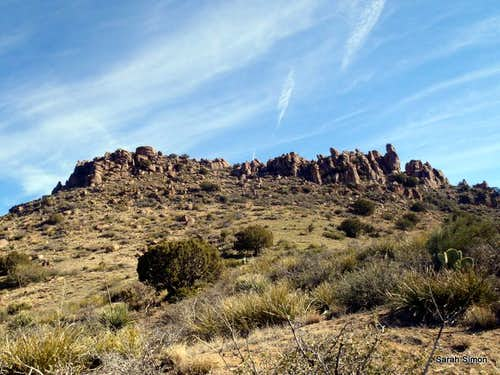 Boulders surrounding summit