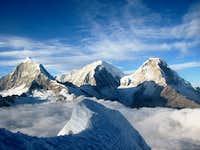 Chopi and the two Huascaran summits from Yanapaccha