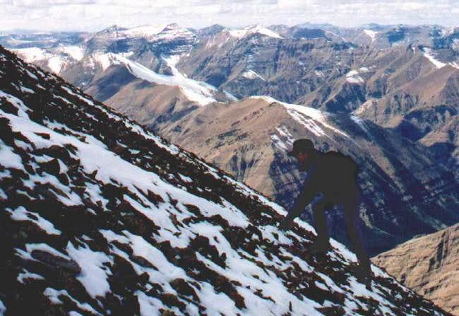 Scree high on the NW face