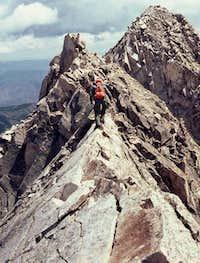 Tom Katonak climbing down...