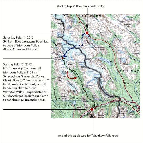 Bow to Yoho Traverse | Mont des Poilus - Route Map