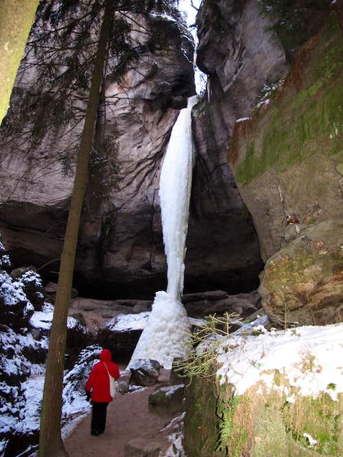 The Gautschgrotte with it's 22-meter frozen waterfall