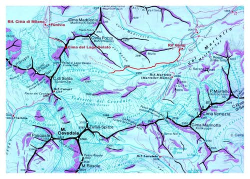Eissee Spitze and upper Martell Tal map