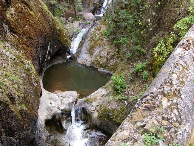 A natural pool at the base of...