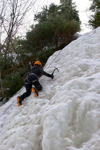 My first time ice climbing, literally.