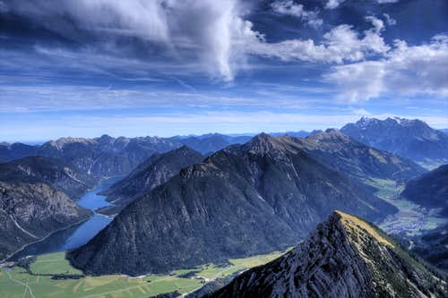 view from Thaneller summit to Ammergauer Alps, Plansee and Zugspitze