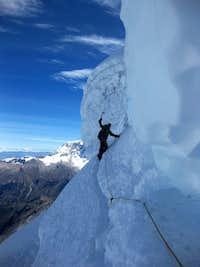 Gaining the NW ridge on Tocllaraju