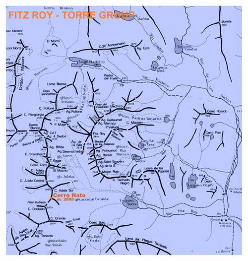 Cerro Nato Map (Fitz Roy - Cerro Torre Group)
