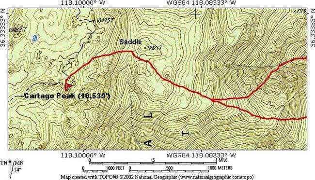 Cartago Peak summit area....