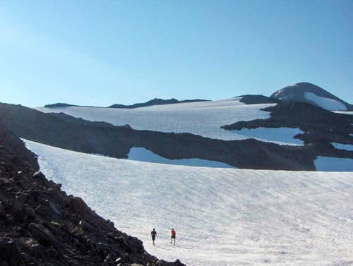 Walking up rolling Glaciers to North and Middle Sister.
