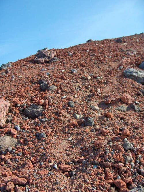 North Sister\'s red rock.