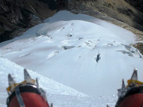 Looking down at high camp