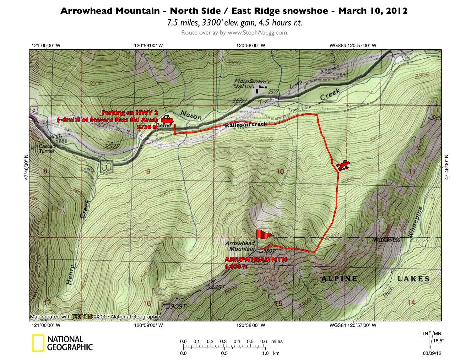 Arrowhead Mountain N Side - E Ridge avy-safe snowshoe