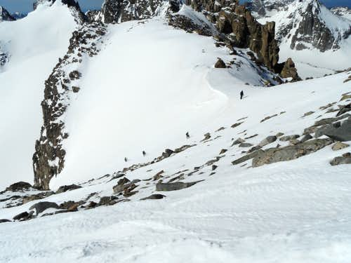 Rope team at top of SE Couloir