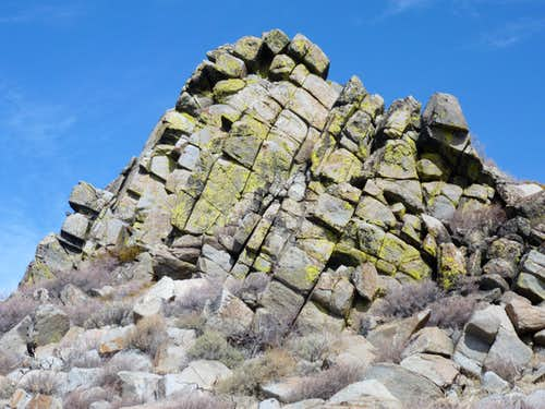 Point 7655 is a rock formation 1/2 mile from the summit