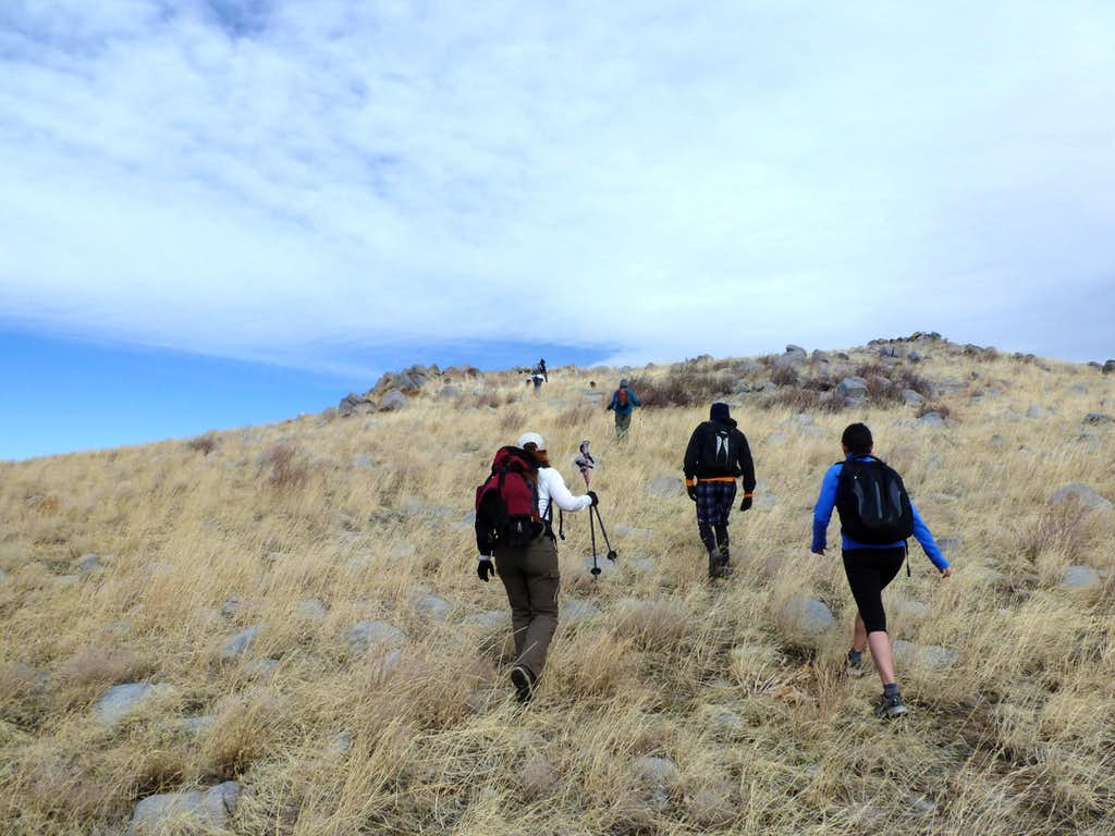 The group heading up the final slope to the summit of Petersen Mountain High Point