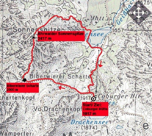 Ehrwalder Sonnenspitze - Map