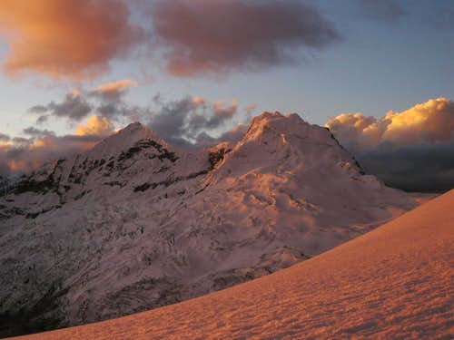 Alpenglow on the Akilpo twins