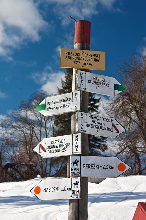 Trail signpost at Przyslup Carynski