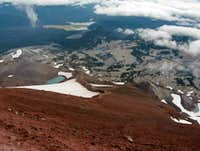 View descending South Sister summit.