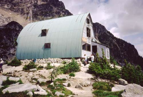 The Conrad Kain Hut holds you...