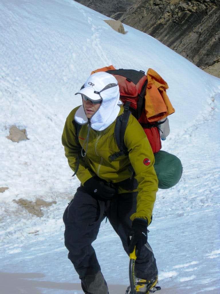 Jaymie making his way to Tocllaraju high camp