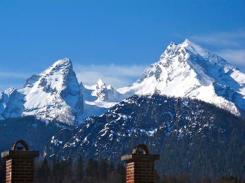 The Watzmann seen from Berchtesgaden in March