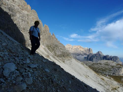 Last scree coming down from Cima Ovest di Lavaredo