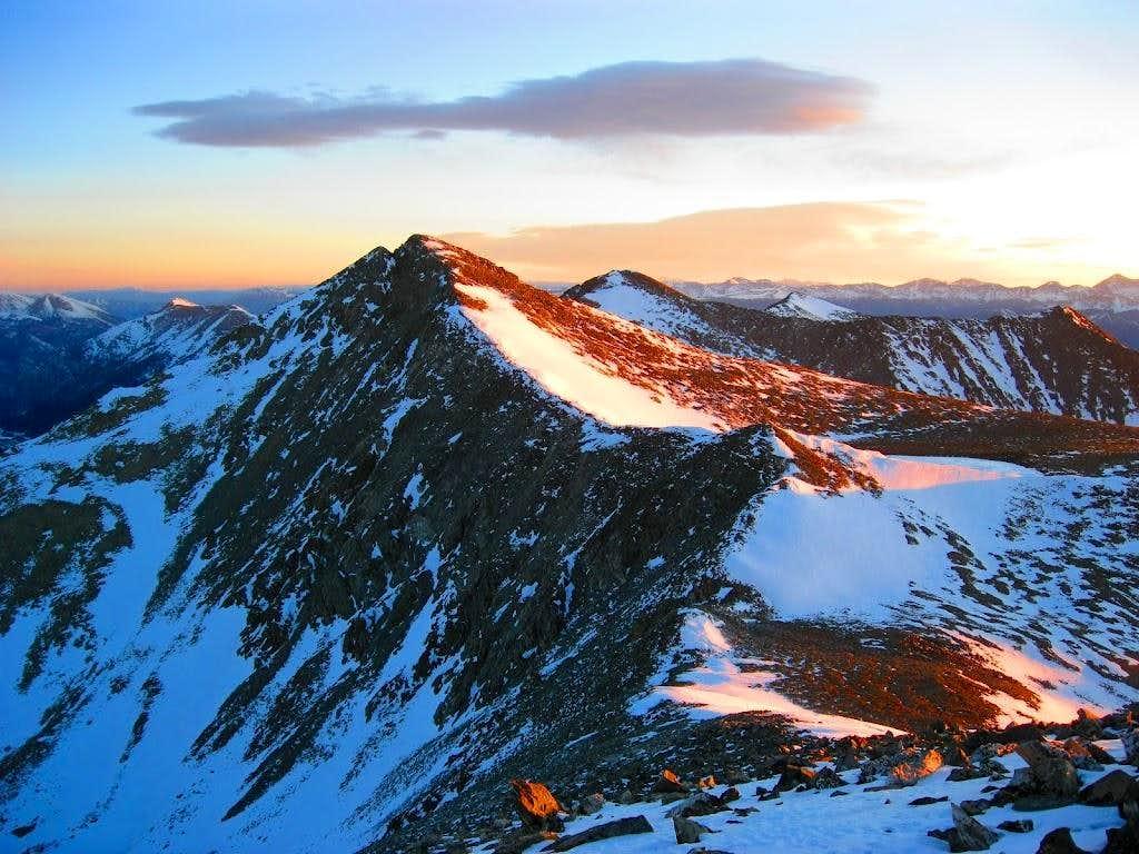 Entire Tenmile Traverse basked in peaceful alpenglow