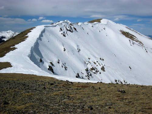 Nice cornices on the ridge leading up to Peak 6.