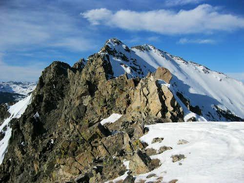 View up towards Peak 2/Tenmile Peak from saddle with Peak 3