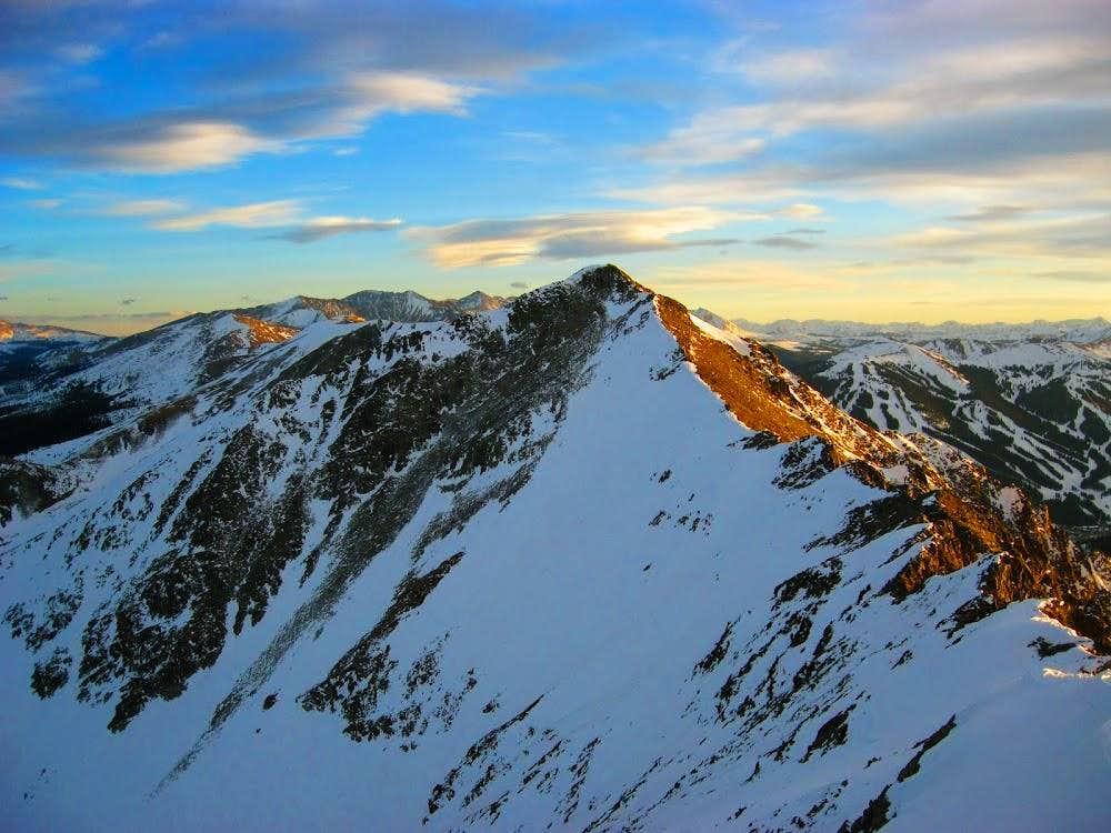 Sunset casts Peak 2/Tenmile Peak in Golden Glow