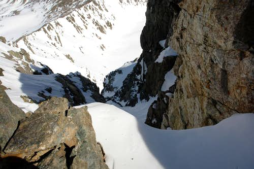 Looking down the North Face Couloir