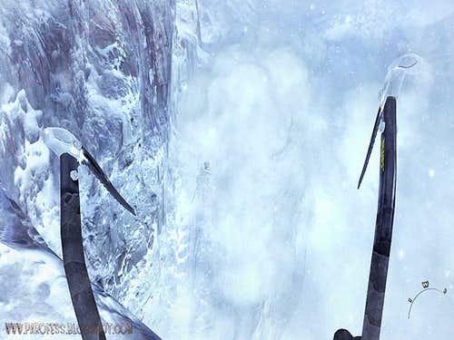 Jump a huge crevasse