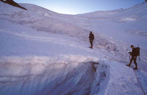 ascent on the Gruben glacier...