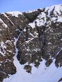 Our intended line on the south face was in poor condition
