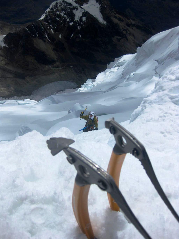 Jaymie on the last pitch below the summit ridge on Tocllaraju