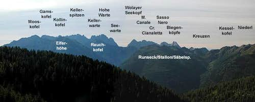 Summit view Lumkofel: Carnic...