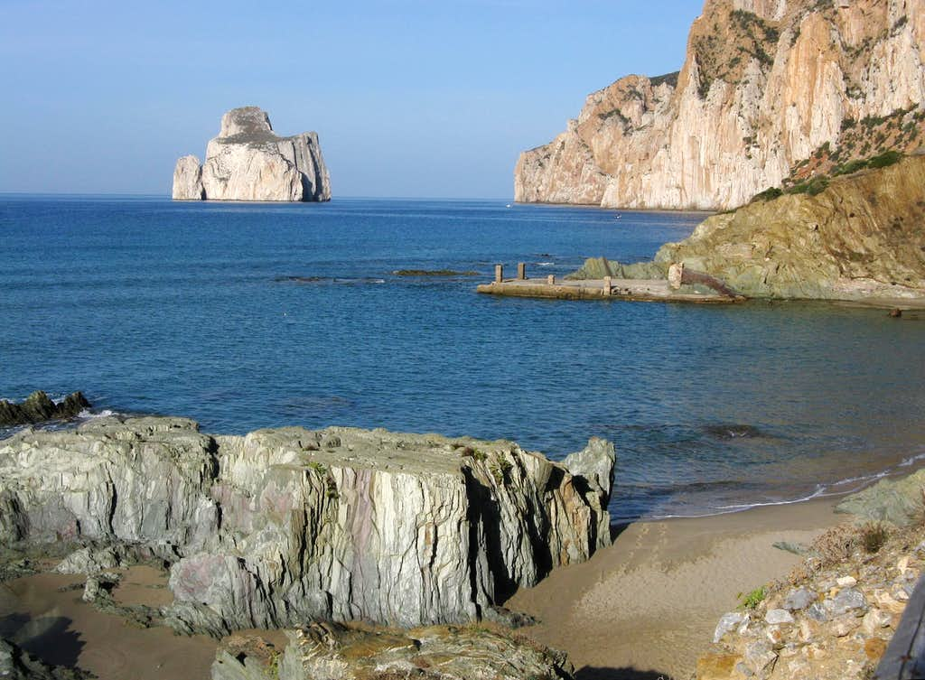 The reddish cliffs of Masua, Sardinia West coast