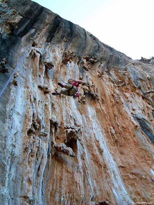 Incredible limestone's concretions at Grande Grotta Crag, Kalymnos, Greece