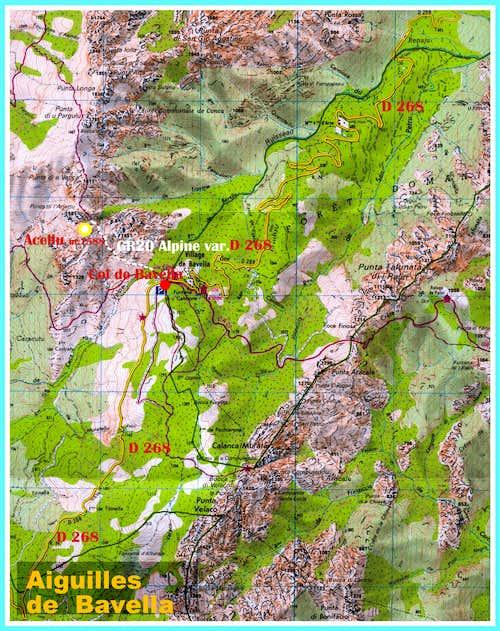 Punta di l'Acellu map, Bavella, Corsica