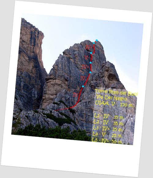 Torre Pian dei Buoi, Dal Negro route topo