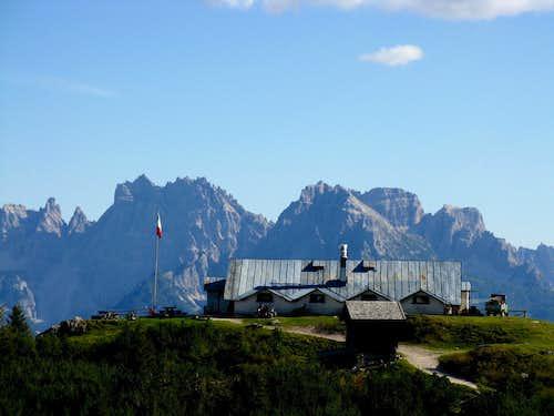 The Refuge Ciareido on Pian dei Buoi and M. Cridola in the background