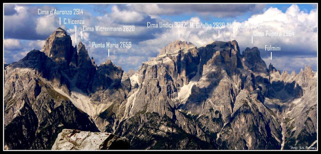 Croda dei Toni and Popera Groups from Torre Pian dei Buoi
