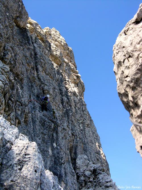 Torre Pian dei Buoi Dal Negro route - Last pitch\'s black wall